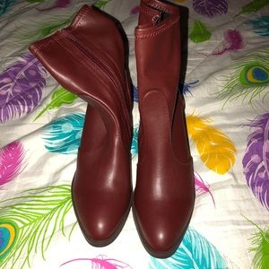 """Burgundy Heeled Booties 3.5"""" 